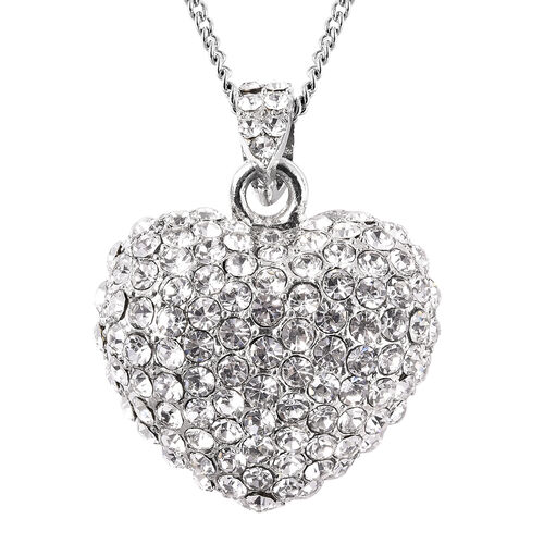 White Austrian Crystal Heart Necklace (Size 20 with 2 inch Extender) in Silver Tone
