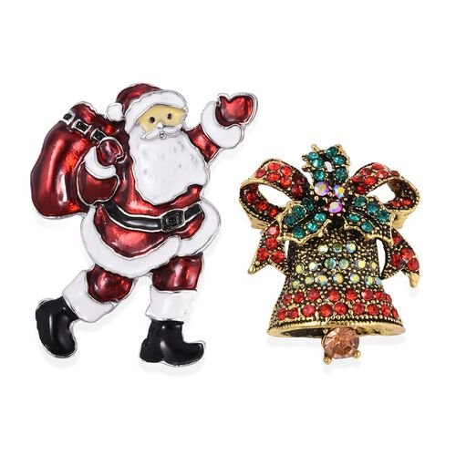 Set of 2 - Multi Colour Austrian Crystal (Rnd) Santa Claus with the bag of Gifts and Church Bell Bro