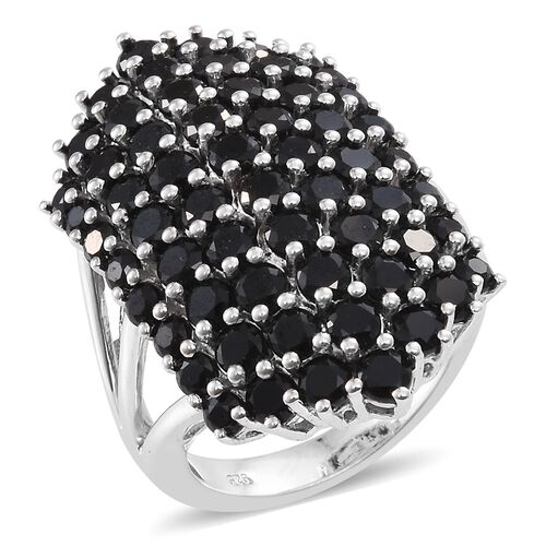 Boi Ploi Black Spinel (Rnd) Cluster Ring in Platinum Overlay Sterling Silver 8.000 Ct. Silver wt. 8.