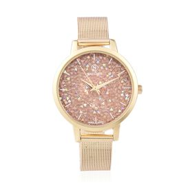 STRADA Japanese Movement Champagne AB Colour Crystal (Rnd) Water Resistant Watch in Gold Plated Stai