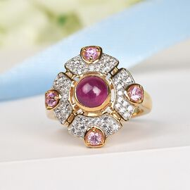 African Ruby (FF), Pink Sapphire and Natural Cambodian Zircon Ring in 14K Gold Overlay Sterling Silver 2.450 Ct.