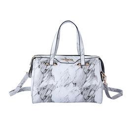 LOCK SOUL Marble Pattern Convertible Bag with Shoulder Strap (Size 27x20x13Cm) - White