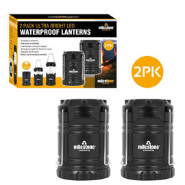 Set of 2 - Ultra Bright COB Lantern in Black (Size 11x8cm Extendable upto 18cm)  (AA Battery not inc