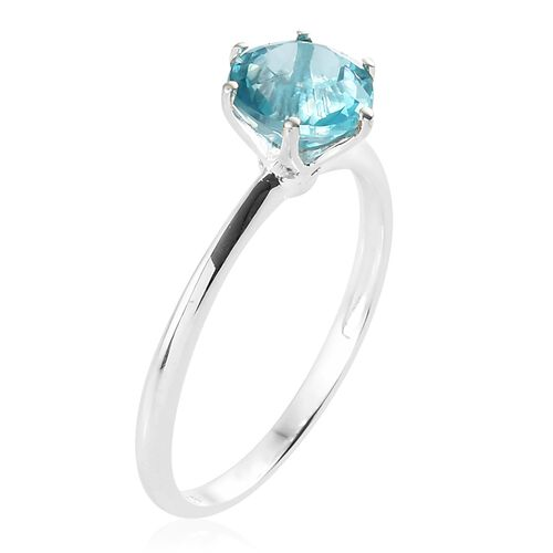 One Time Deal - Signity Paraiba Topaz (Rnd 8mm) Solitaire Ring in Sterling Silver 2.250 Ct.