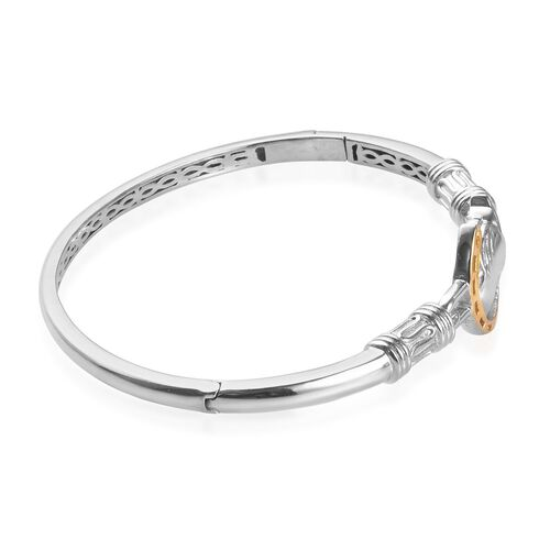 Horse Bangle (Size 7.5) in Platinum and Yellow Gold Plated