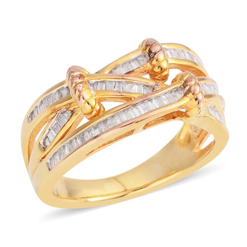 Diamond (Bgt) Ring in Yellow Gold Overlay Sterling Silver 0.480 Ct.