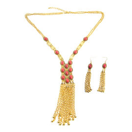 2 Piece Set - Simulated Red Agate (Ovl) Necklace (Size 30 and 3 inch Extender) and Earrings (with Hook) in Gold Plated