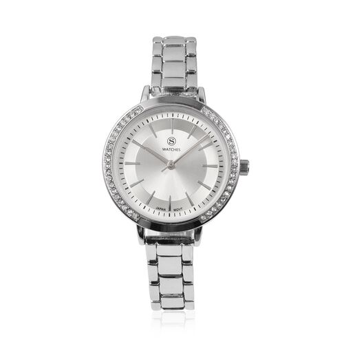 STRADA Japanese Movement White Crystal Studded Water Resistant Watch