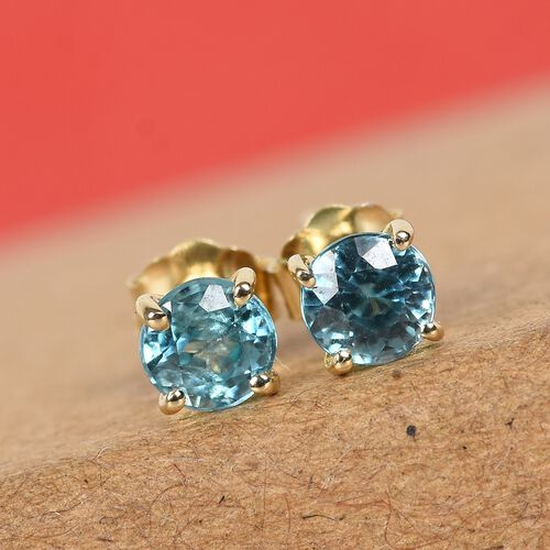 9K Yellow Gold Ratanakiri Blue Zircon Solitaire Stud Earrings (with Push Back) 0.85 Ct.