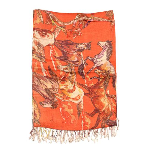 Digital Horse Printed Red and Multi Colour Scarf (Size 180x70 Cm)