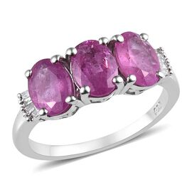 Ilakaka Pink Sapphire (Ovl 7x5 mm), Diamond Triology Ring in Platinum Overlay Sterling Silver 3.30 C