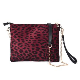 Leopard Pattern Crossbody Bag with Detachable Shoulder Strap (Size 26x20 Cm) - Wine