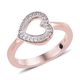 GP Natural Cambodian Zircon (Rnd), Kanchanaburi Blue Sapphire Heart Ring in Rose Gold and Platinum O