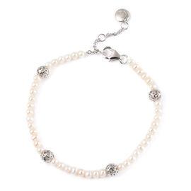Rachel Galley Globe Pearl Collection - Freshwater Pearl Bracelet (Size -7.0 /7.5 /8.0) in Rhodium Ov