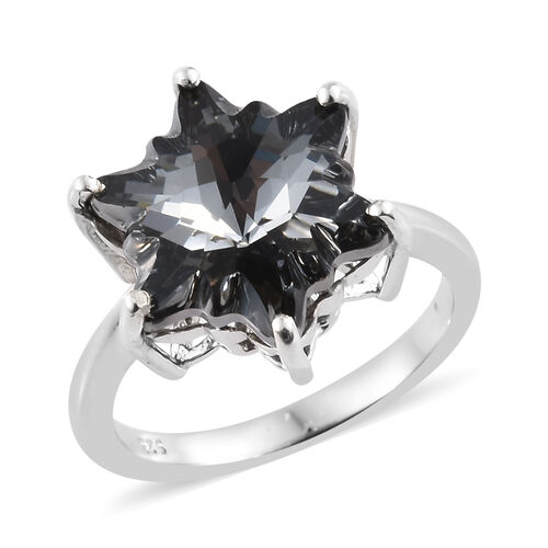 J Francis - Crystal From Swarovski - Swarovski Crystal Silver Night Stellaris Cut Ring in Platinum O