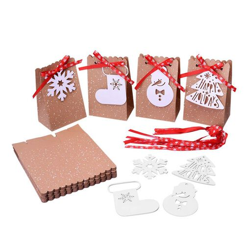 24 Piece Set of Brown Christmas Craft Bags with Snowflake Print Red Ribbons and Christmas Themed Whi