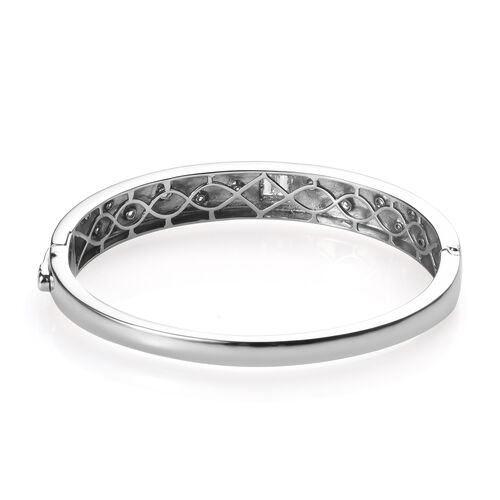 J Francis - Platinum Overlay Sterling Silver (Bgt and Rnd) Bangle (Size 7.5) Made with SWAROVSKI ZIRCONIA, Silver wt 30.52 Gms