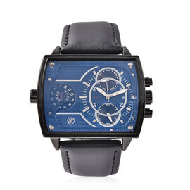 GENOA Two Movement Multi Function Blue Dial Watch with Genuine Black Leather Strap