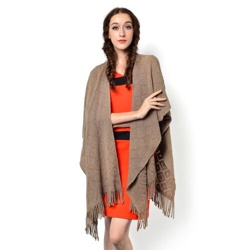 Chocolate Colour Knitted Shawl with Tassels (Size 90x85 Cm)