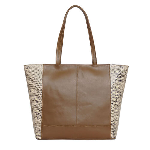 Assots London Animal Print Leather Tote Bag (Size 39x29x10.5cm) - Tan