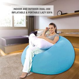 Inflatable and Portable Lazy Sofa (Size: 105x105x65cm) - Blue