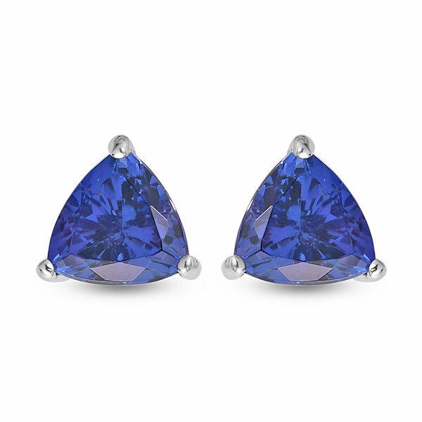 RHAPSODY 2.50 Ct AAAA Tanzanite Trilian Cut Solitaire Stud Earrings in 950 Platinum 2 Grams