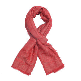 Sparkle Red Colour Scarf (Size 180x47 Cm)