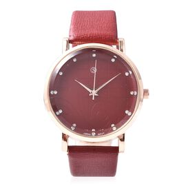 STRADA Japanese Movement White Austrian Crystal (Rnd) Water Resistant Watch in Rose Gold Plated - Re