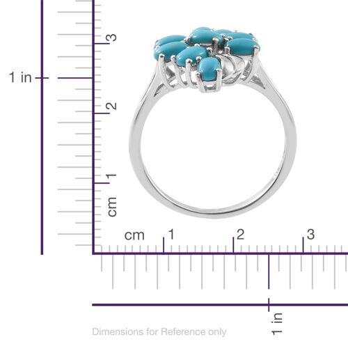 Arizona Sleeping Beauty Turquoise (Ovl) Ring in Platinum Overlay Sterling Silver 2.000 Ct.