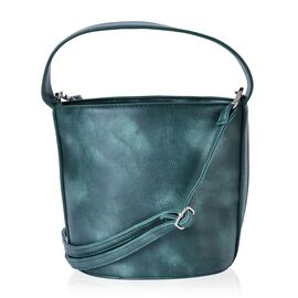 Green Colour Tote Bag with Adjustable and Removable Shoulder Strap (Size 19x18x15 Cm)