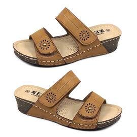 Open-toe Women's Velcro Sandals - Brown