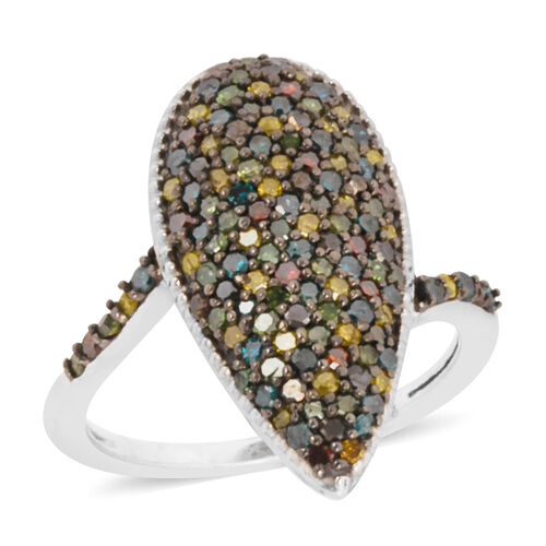 Multi Colour Natural Diamond (Rnd) Ring in Black Platinum Overlay Sterling Silver 1.000 Ct. Number o