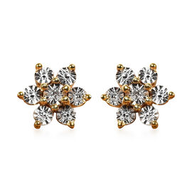 Diamond (Rnd) Floral Earrings (with Push Back) in 14K Gold Overlay Sterling Silver