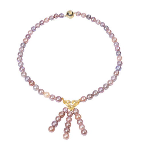 Multi Colour Edison Pearl Necklace (Size 20) with Magnetic Lock in Yellow Gold Overlay Sterling Silv
