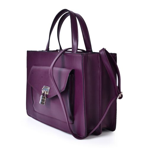 Dark Purple Colour Tote Bag With Adjustable and Removable Shoulder Strap (Size 34.5x24x12.5 Cm)