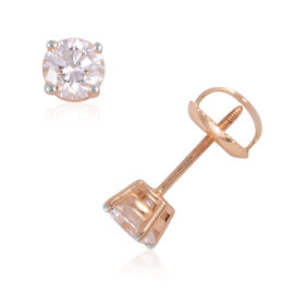 SIGNATURE COLLECTION 18K Yellow Gold SGL CERTIFIED Diamond (Rnd) (I1/ G-H) Stud Earrings (with Screw