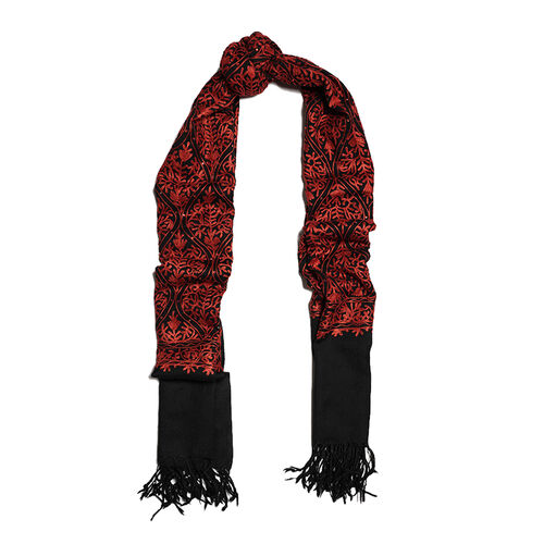 New Season-100% Merino Wool Black and Red Colour Embroidered Shawl (Size 190x70 Cm)