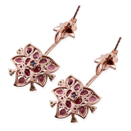 GP Rhodolite Garnet (Rnd), Russian Diopside, Boi Ploi Black Spinel and Kanchanaburi Blue Sapphire Earrings (with Push Back) in Rose Gold Overlay Sterling Silver 5.250 Ct.