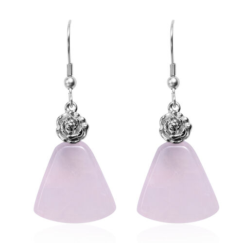 2 Piece Set - Rose Quartz Hook Earrings and Pendant with Chain (Size 20 with 2 inch Extender) in Silver Tone