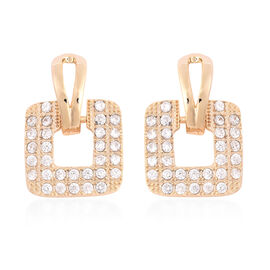Simulated Diamond (Rnd) Square Earrings (with Push Back) in Yellow Gold Tone
