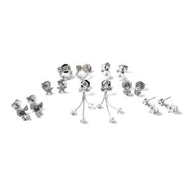 Set of 7 -  AB and White Austrian Crystal, Simulated Diamond and White Shell Pearl Earrings (with Pu