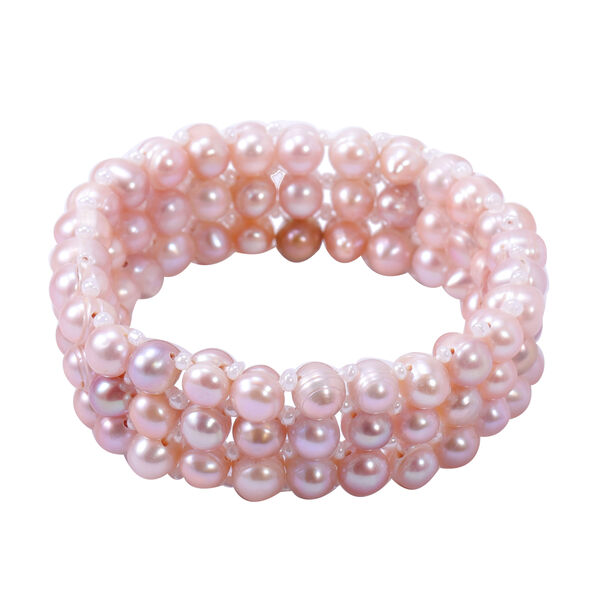 Purple Freshwater Pearl and White Crystal Stretchable Bracelet (Size 6)