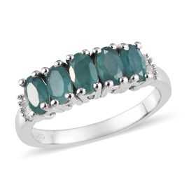 Grandidierite (Ovl), Diamond Ring in Platinum Overlay Sterling Silver 1.10 Ct.