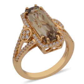 Collectors Edition- ILIANA 18K Yellow Gold Turkizite and Diamond Ring 4.40 Ct, Gold wt. 6.59 Gms
