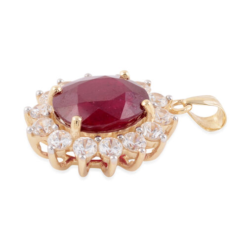 9K Yellow Gold AAA African Ruby (Ovl 12x10 mm), Natural White Cambodian Zircon Pendant  9.40 Ct.