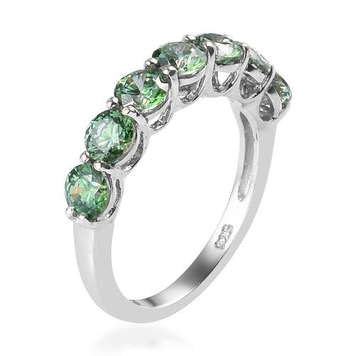 J Francis - Platinum Overlay Sterling Silver Half Eternity Ring Made with Green Swarovski Zirconia 3.25 Ct.