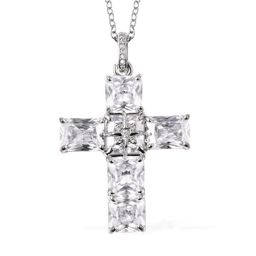 2 Piece Set - Simulated Diamond Ring and Cross Pendant with Chain (Size 20 with 3 inch Ext.) in Silver Tone