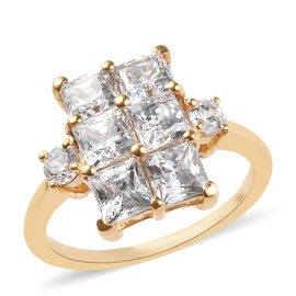 J Francis Made with SWAROVSKI ZIRCONIA Cluster Ring in 14K Gold Plated Silver