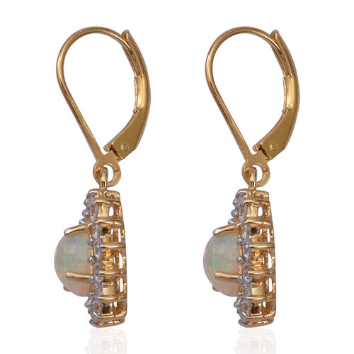 Ethiopian Welo Opal (Ovl 7x5mm), Natural  White Cambodian Zircon Lever Back Earrings in Yellow Gold Overlay Sterling Silver 2.460 Ct.