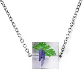 Dried Leaf Square Necklace (Size 21 with 2 inch Extender) in Silver Tone